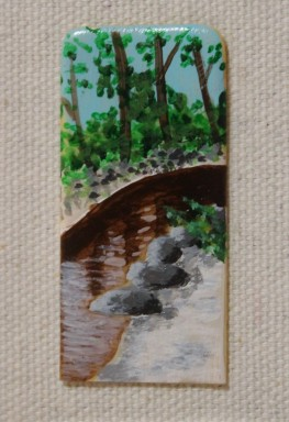 painting of the Blackwater River on a piano ivory keytop head
