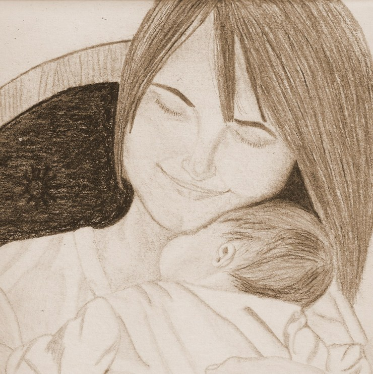 pencil drawing of mother rocking infant
